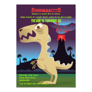 Volcano Eruption Dinosaur Birthday Party Invites