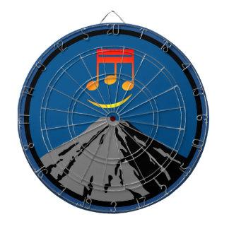 volcano eruption rock music notes dartboard with darts
