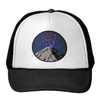 volcano eruption rock music notes trucker hat