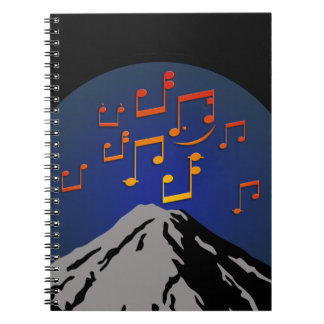 volcano eruption rock music notes notebook