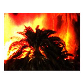 Volcano Eruption Watercolor Post Card