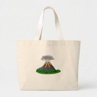 volcano fire eruption large tote bag