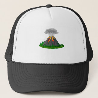 volcano fire eruption trucker hat