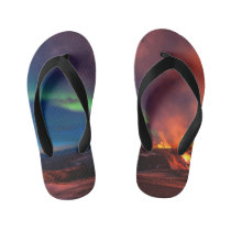 Volcano in Iceland and the Northern lights Kid's Flip Flops