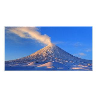 Volcano Klyuchevskaya Sopka in Kamchatka. Russia Card