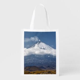 Volcano Klyuchevskaya Sopka on Kamchatka Peninsula Grocery Bag