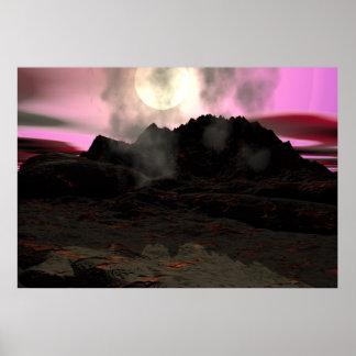 Volcano Lava Aquarium Background. Poster
