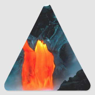 Volcano Lava Flow From Kilauea Hawaii Triangle Stickers