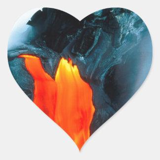 Volcano Lava Flow From Kilauea Hawaii Heart Stickers