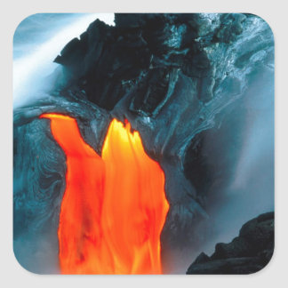Volcano Lava Flow From Kilauea Hawaii Square Sticker