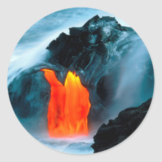 Volcano Lava Flow From Kilauea Hawaii Round Sticker
