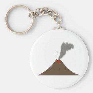 Volcano Mountain Basic Round Button Keychain