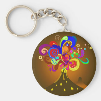 Volcano Oozing Of Color Basic Round Button Keychain