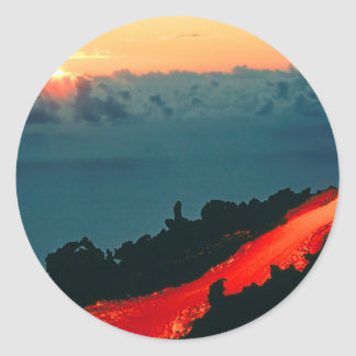 Volcano Reunion Island Lava Flow 1975 Classic Round Sticker