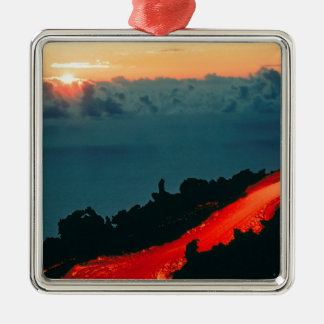 Volcano Reunion Island Lava Flow 1975 Metal Ornament