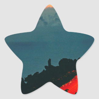 Volcano Reunion Island Lava Flow 1975 Star Sticker