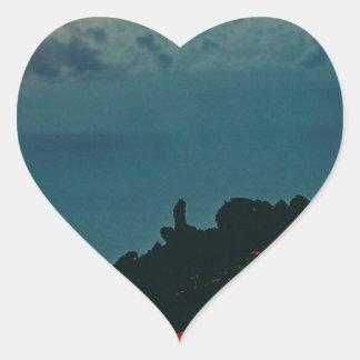 Volcano Reunion Island Lava Flow 1975 Heart Stickers