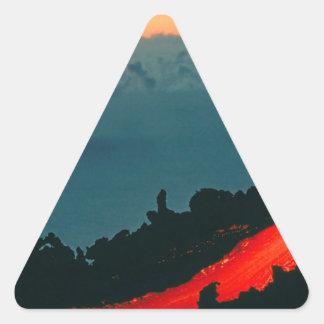 Volcano Reunion Island Lava Flow 1975 Triangle Sticker