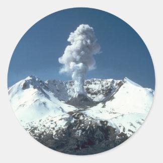 Volcano Scene Classic Round Sticker