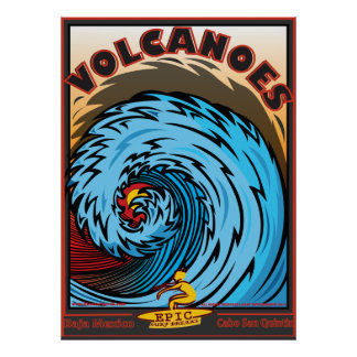 VOLCANOES BAJA MEXICO SURFBREAK SURFING POSTER