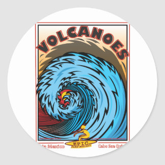 VOLCANOES BAJA MEXICO SURFING CLASSIC ROUND STICKER