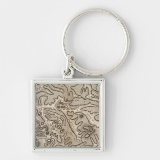 Volcans Haute Loire Silver-Colored Square Keychain