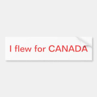 Volé para Canadá Pegatina Para Auto