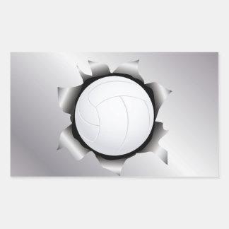 voleibol a través de la hoja de metal etiqueta