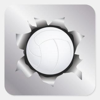 voleibol a través de la hoja de metal pegatina cuadrada