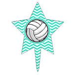 Voleibol; Aguamarina Chevron verde Decoraciones De Tartas