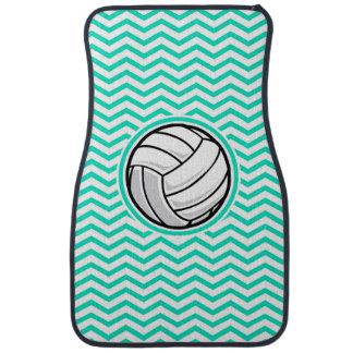 Voleibol; Aguamarina Chevron verde Alfombrilla De Coche