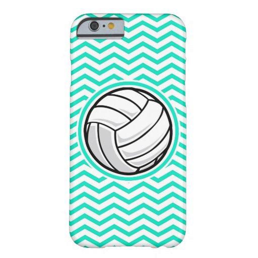 Voleibol; Aguamarina Chevron verde Funda De iPhone 6 Barely There