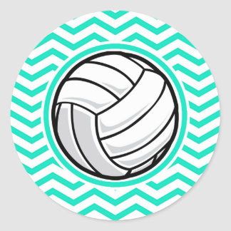 Voleibol; Aguamarina Chevron verde Pegatina Redonda