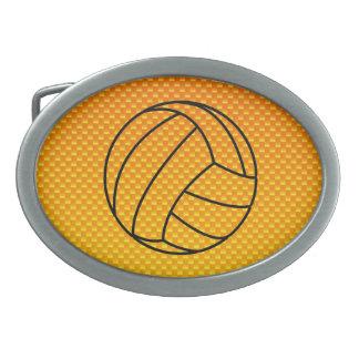 Voleibol amarillo-naranja hebillas de cinturón ovales