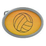 Voleibol amarillo-naranja hebilla cinturon oval