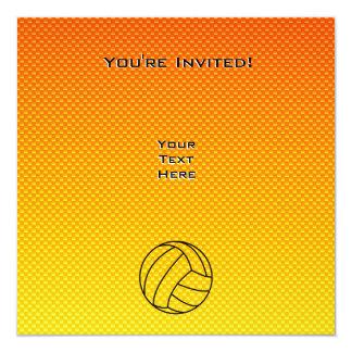 """Voleibol amarillo-naranja invitación 5.25"""" x 5.25"""""""