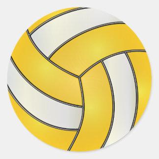 Voleibol amarillo y blanco de oro pegatina redonda