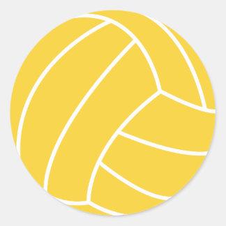 Voleibol ambarino amarillo pegatina redonda