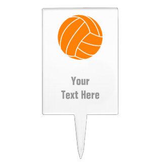 Voleibol anaranjado y blanco figuras de tarta