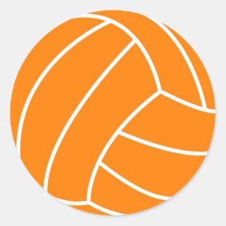 Voleibol anaranjado y blanco pegatina redonda