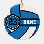 Voleibol azul adorno redondo de cerámica