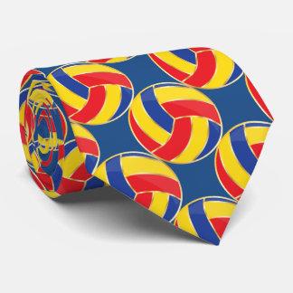 Voleibol azul, amarillo, rojo, y del accesorio de corbatas