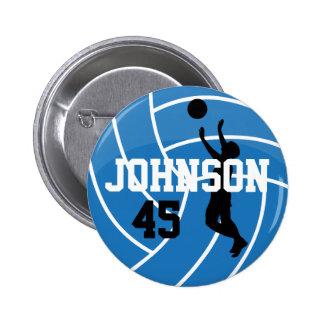 Voleibol azul con el jugador de la silueta pin redondo de 2 pulgadas