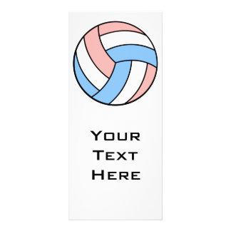 voleibol azul en colores pastel blanco rosado diseño de tarjeta publicitaria