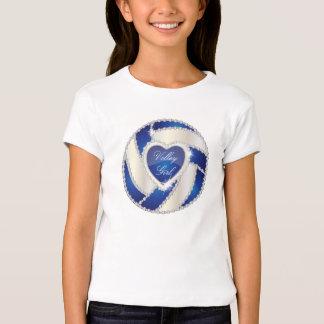 Voleibol azul marino del corazón elegante del playera