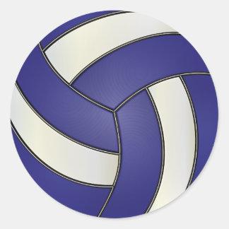 Voleibol azul marino y blanco pegatina redonda