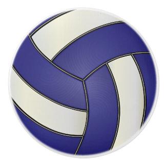 Voleibol azul marino y blanco pomo de cerámica