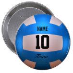Voleibol azul pin redondo de 4 pulgadas
