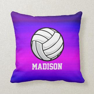 Voleibol; Azul violeta y magenta vibrantes Cojín Decorativo