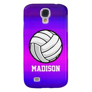 Voleibol; Azul violeta y magenta vibrantes Funda Para Galaxy S4